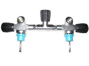 Cylinder valve set for 2*7-12/300 bar M25*2